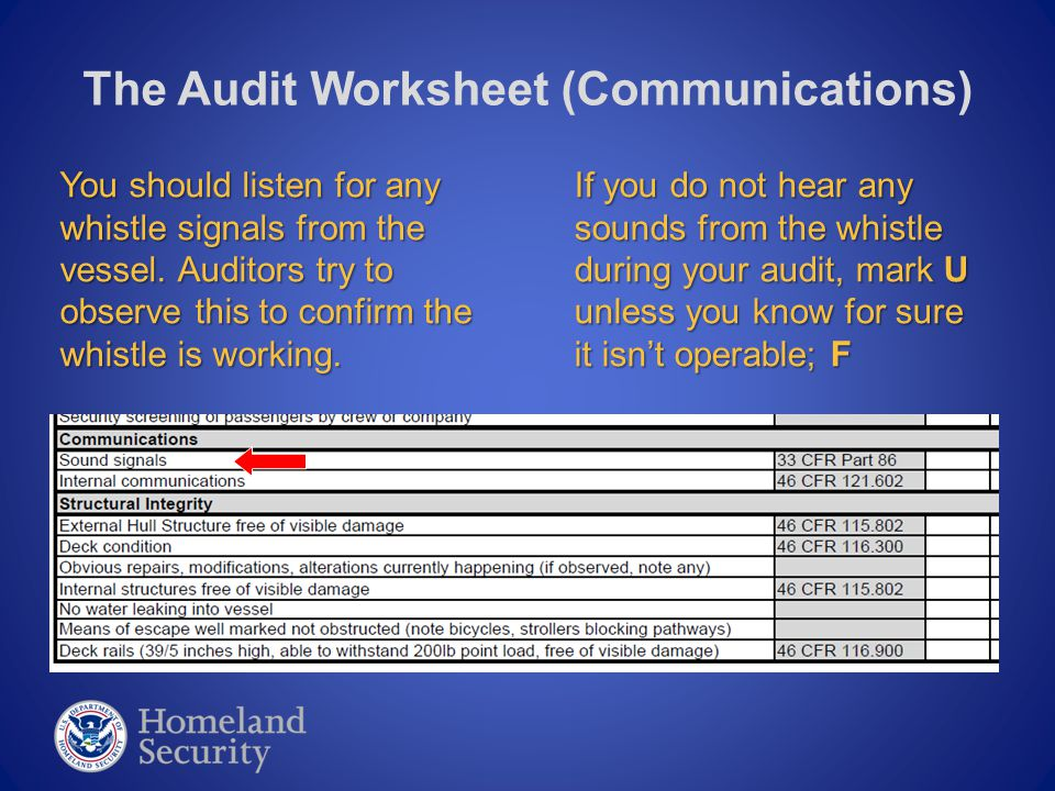 The Audit Worksheet (Communications) You should listen for any whistle signals from the vessel. Auditors try to observe this to confirm the whistle is