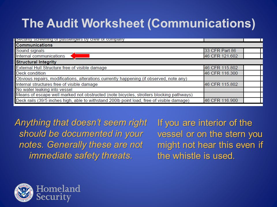 The Audit Worksheet (Communications) Passenger ferry vessels make a safety announcement prior to getting underway.