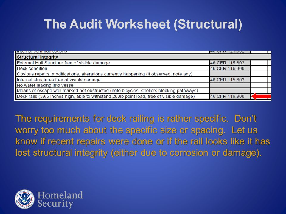 The Audit Worksheet (Structural) The requirements for deck railing is rather specific.