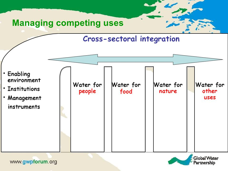 Managing competing uses Water for people Water for food Water for nature Water for other uses Cross-sectoral integration Enabling environment Institutions Management instruments