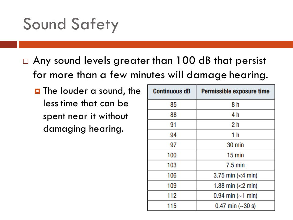 Sound Safety  Any sound levels greater than 100 dB that persist for more than a few minutes will damage hearing.  The louder a sound, the less time