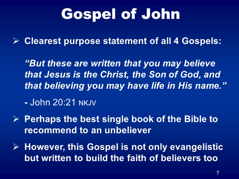 8 Gospel of John Outline 1:11:1912:120:1 Written so that you may believe that Jesus is the Christ, the Son of God......and that believing you may have life in His name Pro- logue Period of 3 yearsPassion WeekEpilogue Focus upon the ministry and miracles of Jesus Focus upon Jesus teaching His disciples and the events of the death, burial & resurrection Public MinistryPrivate Ministry