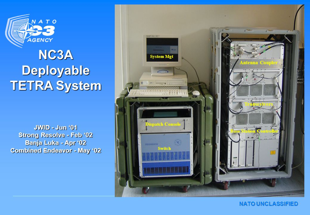 NATO UNCLASSIFIED NC3A Deployable TETRA System JWID - Jun '01 Strong Resolve - Feb '02 Banja Luka - Apr '02 Combined Endeavor - May '02 System Mgt Dispatch Console Switch Base Station Controller Transceivers Antenna Coupler