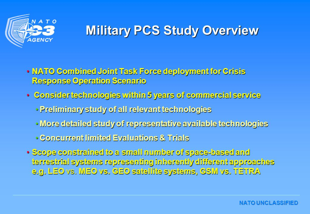 NATO UNCLASSIFIED Military PCS Study Overview NATO Combined Joint Task Force deployment for Crisis Response Operation ScenarioNATO Combined Joint Task