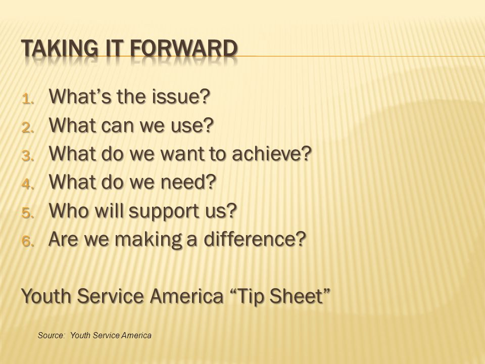 1. What's the issue. 2. What can we use. 3. What do we want to achieve.