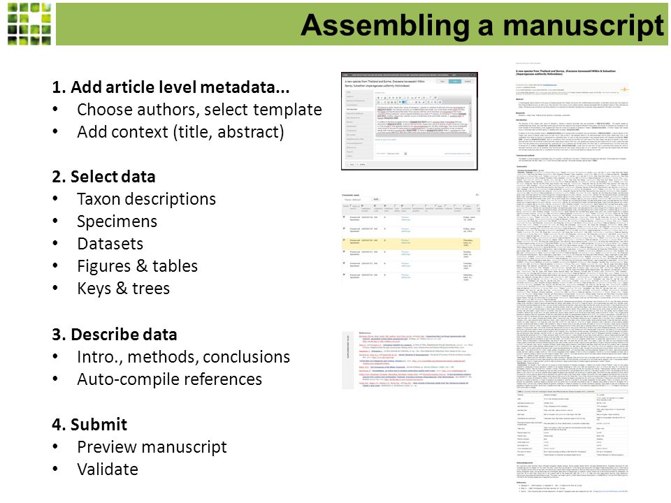 Assembling a manuscript 1. Add article level metadata...