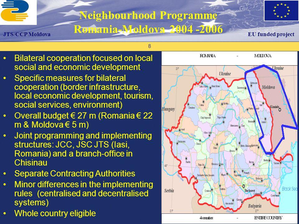 Proiectul este finanţat de către Uniunea Europeană Proiectul este implementat de către ECO 3 – Organizaţia Consultanţilor Europeni Programul UE Tacis Suport Biroului Naţional de Coordonare 19 Programme addressing cooperation at regional level € 126 m ENPI funding 3 partner states: 1 MS and 2 NPs - towards more competitive border economy - environmental challenges - people-to-people cooperation JMA: MoDPWH(Romania) JTS in RO Suceava and RO Iasi + 3 branch offices in Uk and Mo Core area: Romania (4 counties), Moldova (whole territory), Ukraine (2 oblasti)+ adjoining regions (4) Grants – PRAG procedures EU funded project Joint Operational Programme Romania-Ukraine-Moldova 2007-2013 JTS/CCP Moldova