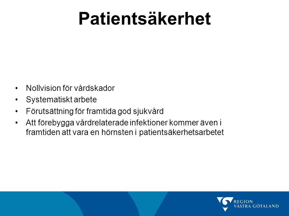 Patientsäkerhet Nollvision för vårdskador Systematiskt arbete Förutsättning för framtida god sjukvård Att förebygga vårdrelaterade infektioner kommer även i framtiden att vara en hörnsten i patientsäkerhetsarbetet