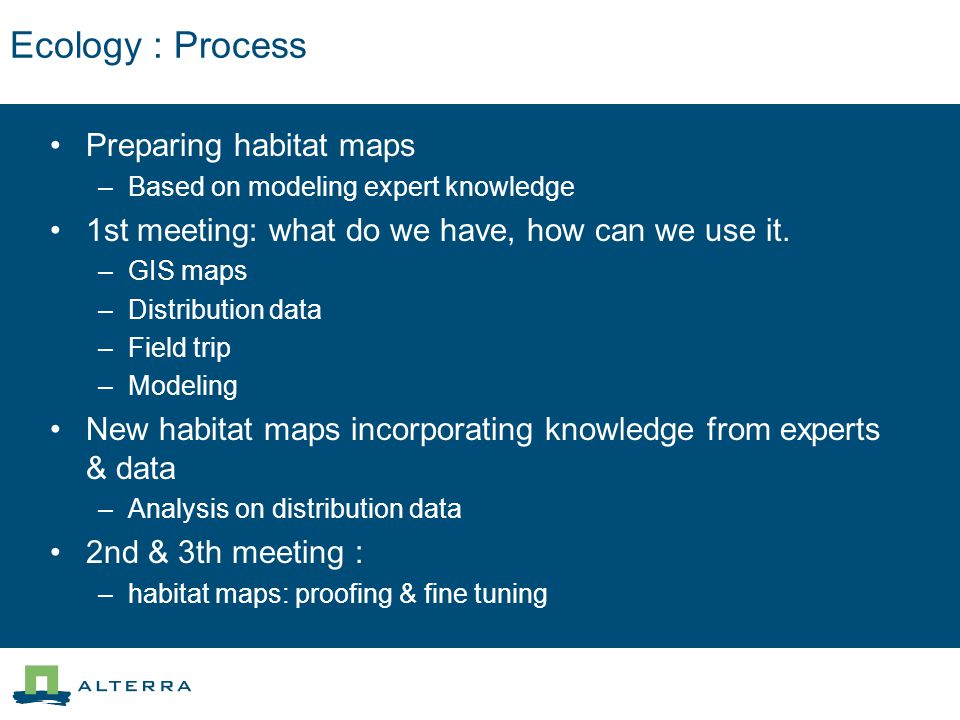 Ecology : Involvement Species Data BTO RSPB English Nature Expert input in meeting s, ornithologist from: Forestry Commission RSPB English Nature Sovon (Dutch NGO, like BTO) Alterra