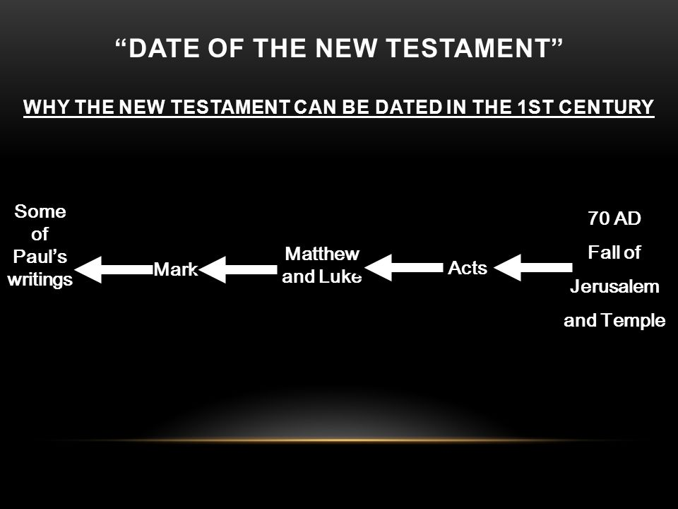 Matthew and Luke 70 AD Fall of Jerusalem and Temple Mark Acts Some of Paul's writings DATE OF THE NEW TESTAMENT WHY THE NEW TESTAMENT CAN BE DATED IN THE 1ST CENTURY