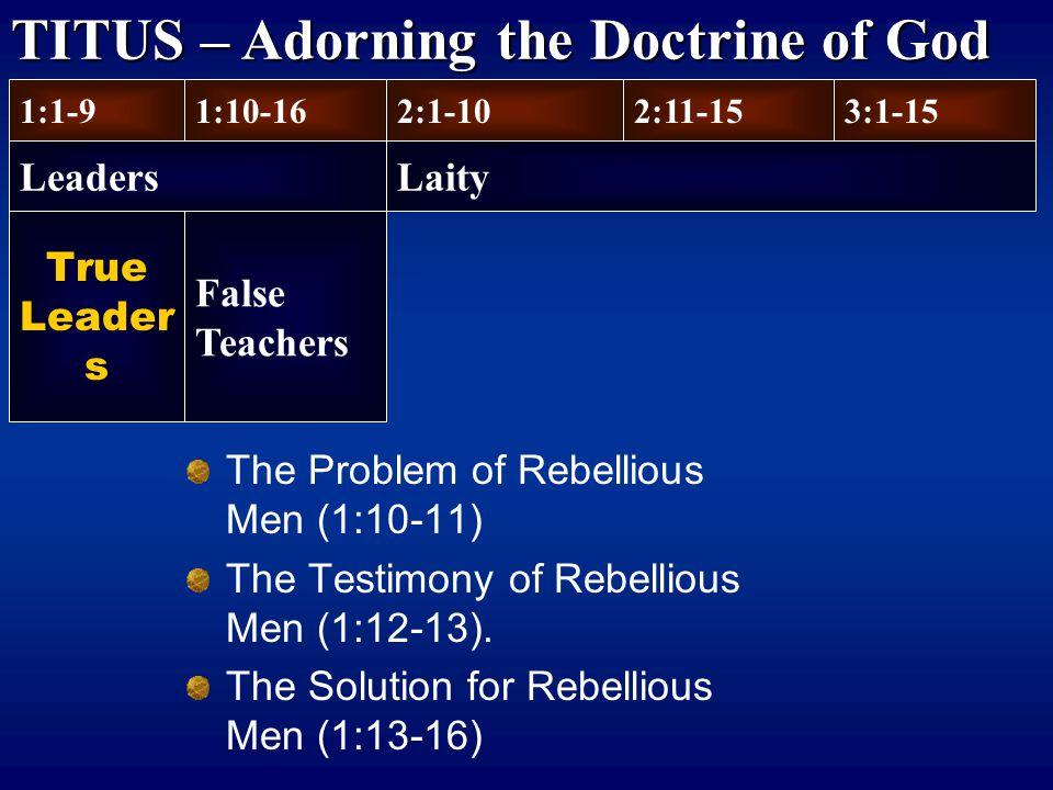 True Leader s The Problem of Rebellious Men (1:10-11) The Testimony of Rebellious Men (1:12-13). The Solution for Rebellious Men (1:13-16) 1:1-9 Leade