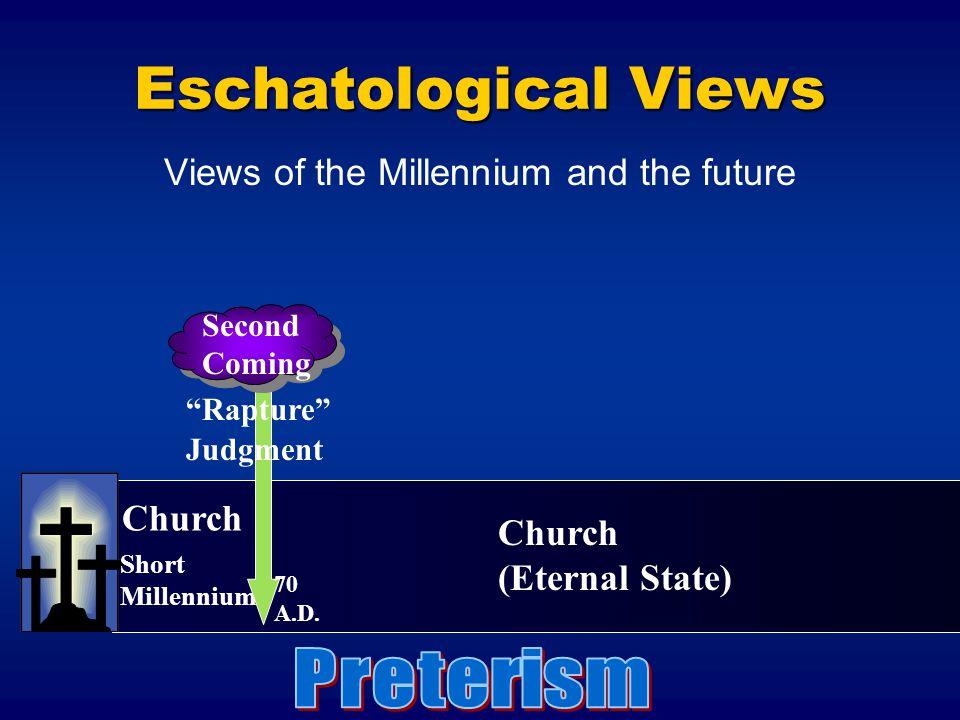 "Short Millennium ""Rapture"" Judgment Second Coming Church (Eternal State) 70 A.D. Eschatological Views Views of the Millennium and the future"