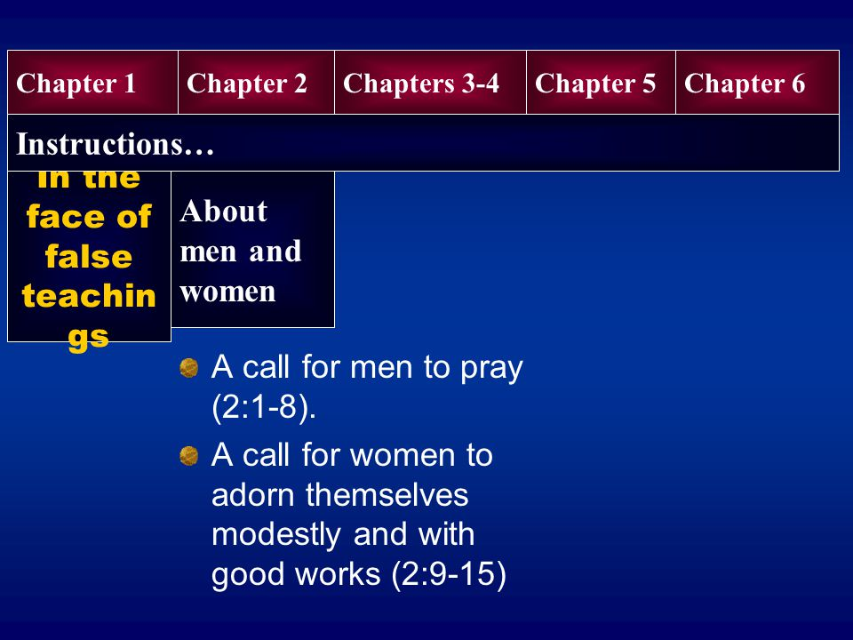 In the face of false teachin gs A call for men to pray (2:1-8).