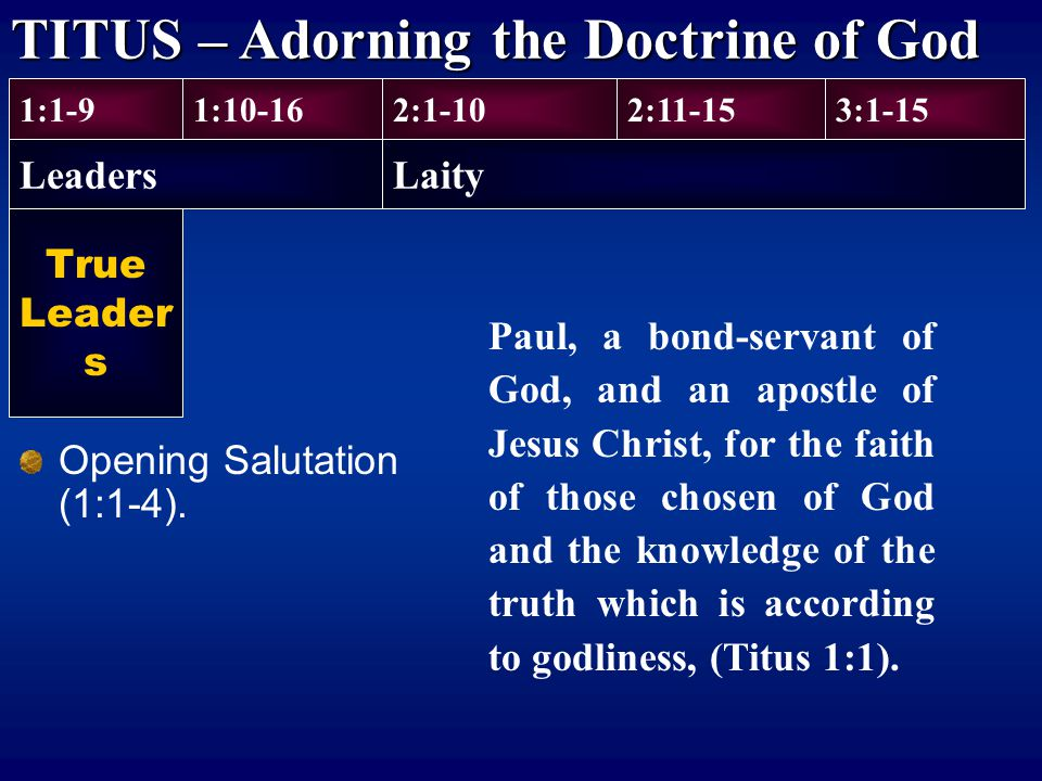 True Leader s Opening Salutation (1:1-4). 1:1-9 Leaders 1:10-162:1-102:11-153:1-15 Laity TITUS – Adorning the Doctrine of God Paul, a bond-servant of