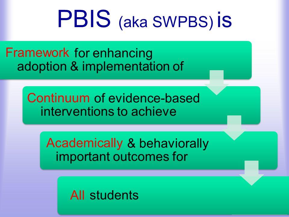 PBIS (aka SWPBS) is Framework Continuum Academically All