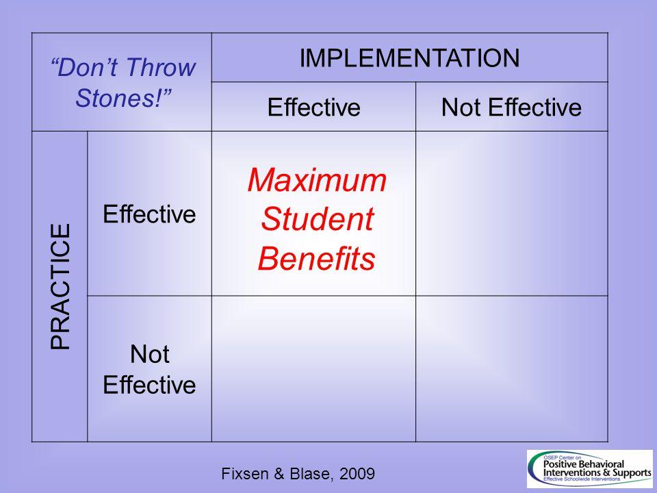 """Don't Throw Stones!"" IMPLEMENTATION EffectiveNot Effective PRACTICE Effective Not Effective Maximum Student Benefits Fixsen & Blase, 2009"