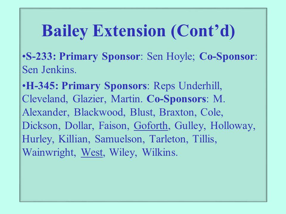 Bailey Extension (Cont'd) S-233: Primary Sponsor: Sen Hoyle; Co-Sponsor: Sen Jenkins. H-345: Primary Sponsors: Reps Underhill, Cleveland, Glazier, Mar