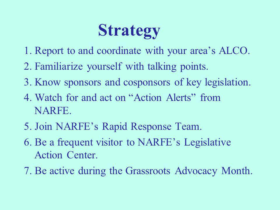 Strategy 1. Report to and coordinate with your area's ALCO. 2. Familiarize yourself with talking points. 3. Know sponsors and cosponsors of key legisl