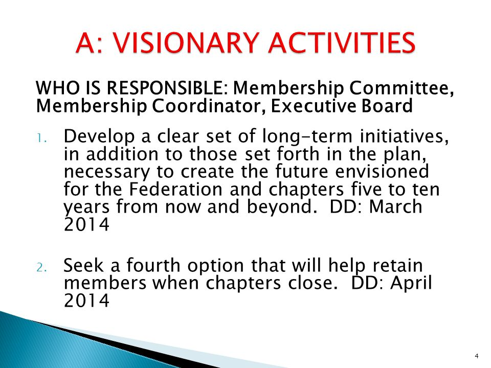 WHO IS RESPONSIBLE: Membership Committee, Membership Coordinator, Executive Board 1.