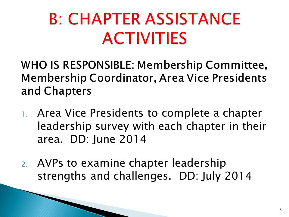 WHO IS RESPONSIBLE: Membership Committee, Membership Coordinator, Area Vice Presidents and Chapters 1.