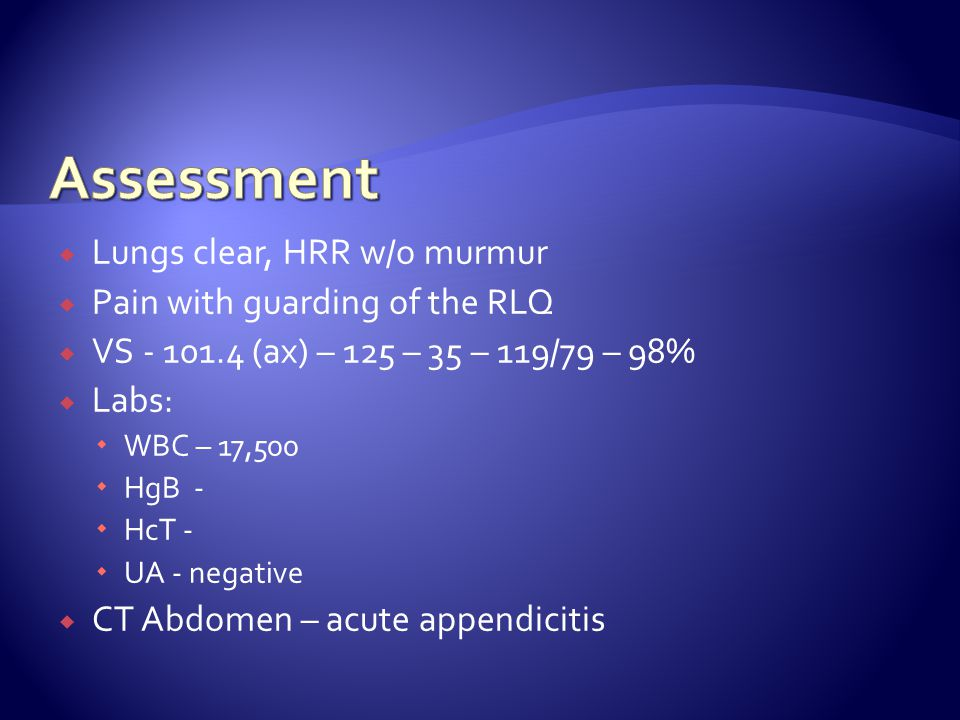  Does this clinical picture coincide with a diagnosis of appendicitis.