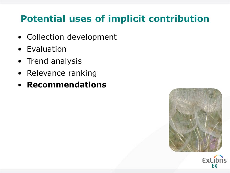 Potential uses of implicit contribution Collection development Evaluation Trend analysis Relevance ranking Recommendations
