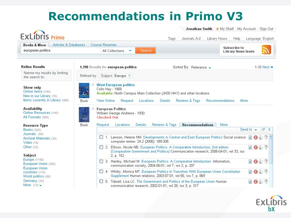 Recommendations in Primo V3