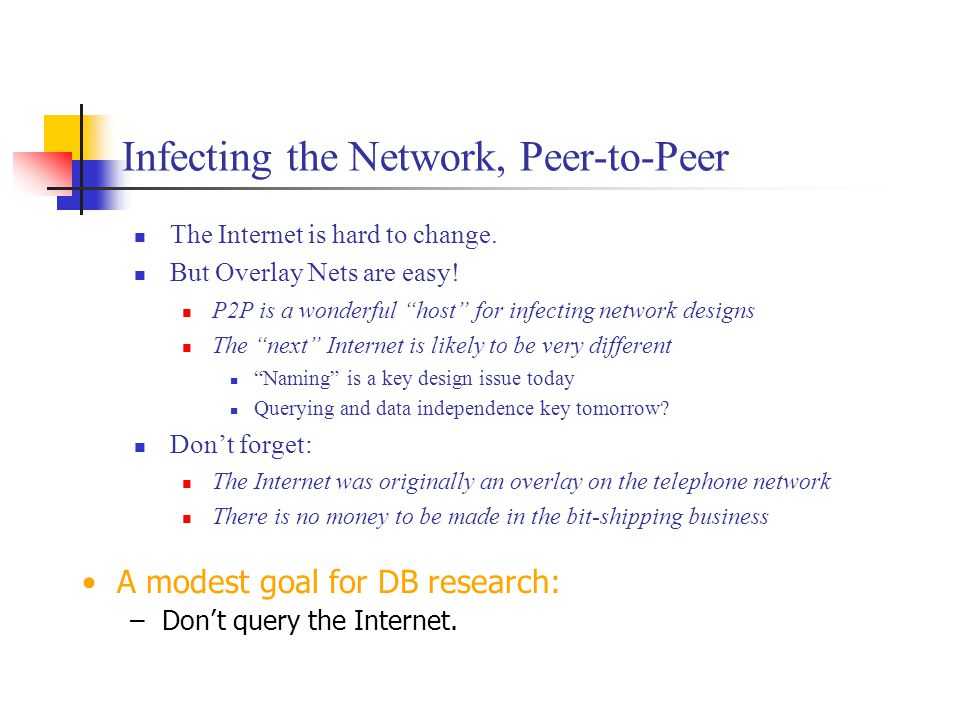 """Infecting the Network, Peer-to-Peer The Internet is hard to change. But Overlay Nets are easy! P2P is a wonderful """"host"""" for infecting network designs"""