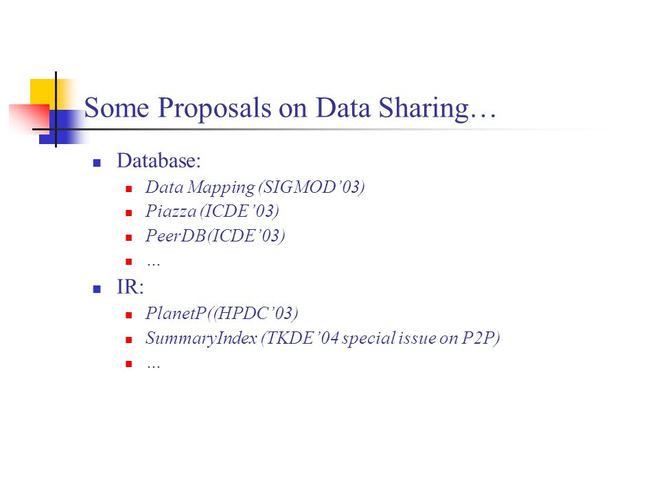 Some Proposals on Data Sharing… Database: Data Mapping (SIGMOD'03) Piazza (ICDE'03) PeerDB(ICDE'03) … IR: PlanetP((HPDC'03) SummaryIndex (TKDE'04 spec