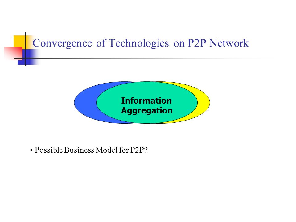 Convergence of Technologies on P2P Network DBMS Search Engine Information Aggregation Possible Business Model for P2P