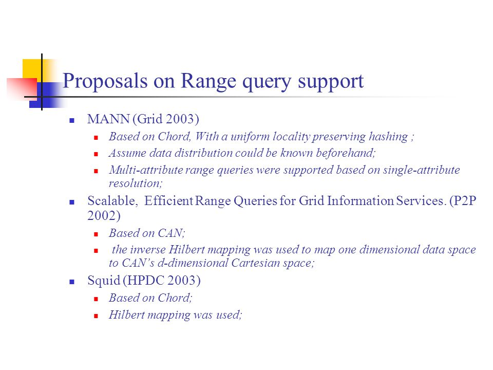 Proposals on Range query support MANN (Grid 2003) Based on Chord, With a uniform locality preserving hashing ; Assume data distribution could be known beforehand; Multi-attribute range queries were supported based on single-attribute resolution; Scalable, Efficient Range Queries for Grid Information Services.