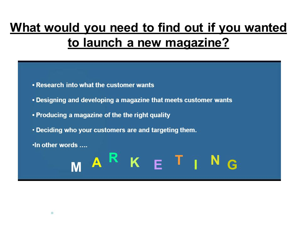 What would you need to find out if you wanted to launch a new magazine.