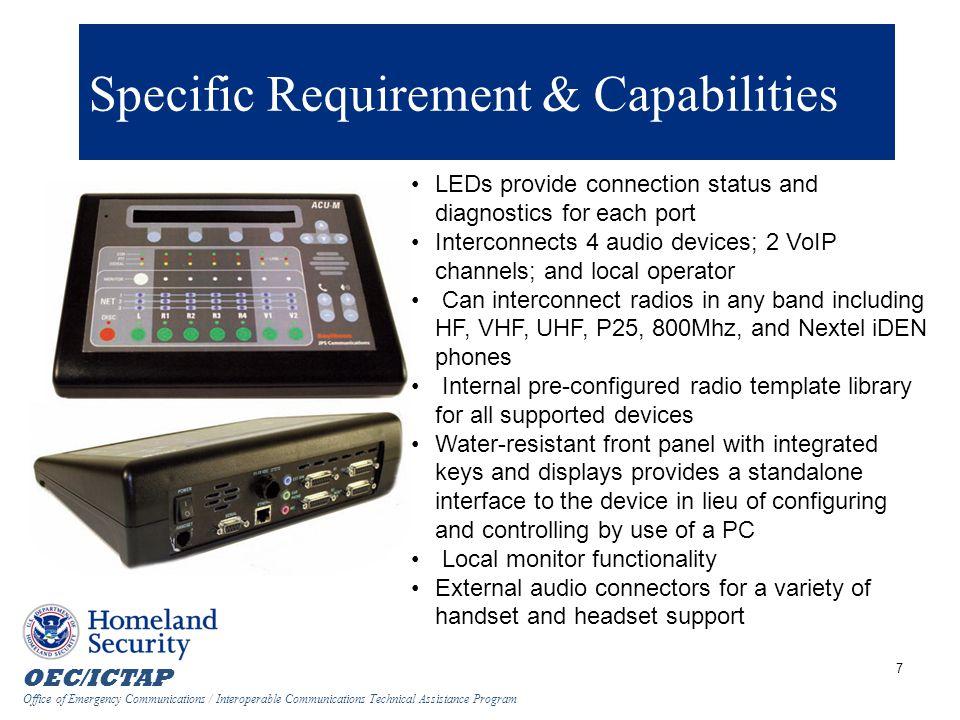 OEC/ICTAP Office of Emergency Communications / Interoperable Communications Technical Assistance Program 48 V1-V2 Configuration  Comm.