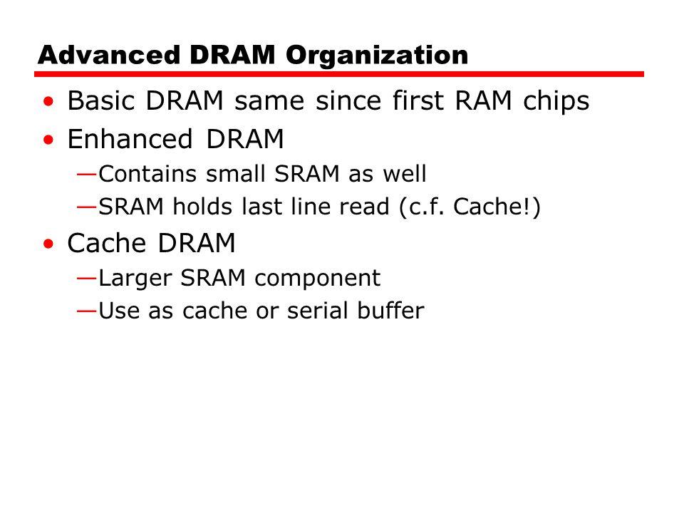 Advanced DRAM Organization Basic DRAM same since first RAM chips Enhanced DRAM —Contains small SRAM as well —SRAM holds last line read (c.f. Cache!) C
