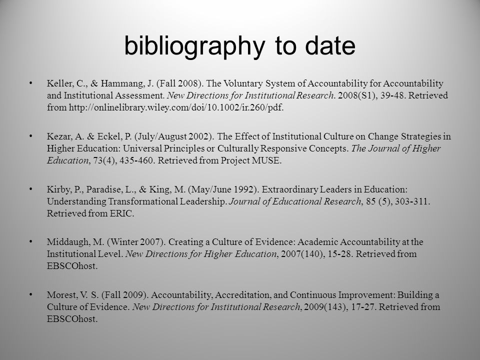 bibliography to date Keller, C., & Hammang, J. (Fall 2008). The Voluntary System of Accountability for Accountability and Institutional Assessment. Ne
