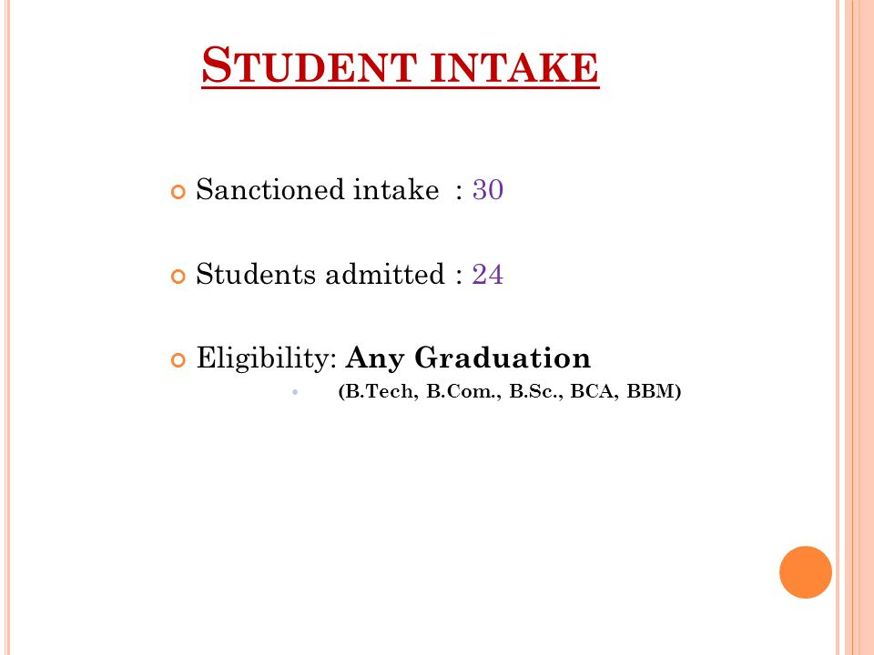 S TUDENT INTAKE Sanctioned intake : 30 Students admitted : 24 Eligibility: Any Graduation (B.Tech, B.Com., B.Sc., BCA, BBM)