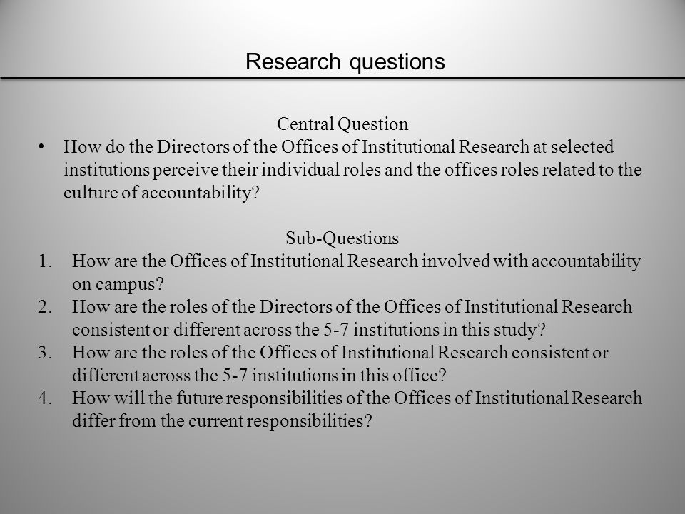 The purposefully selected sample for the qualitative in-depth one-on-one interviews will be 5-7 Directors of Offices of Institutional Research from large four year public research universities with very high research activity located in the Midwest that participate in the Voluntary System of Accountability (VSA).