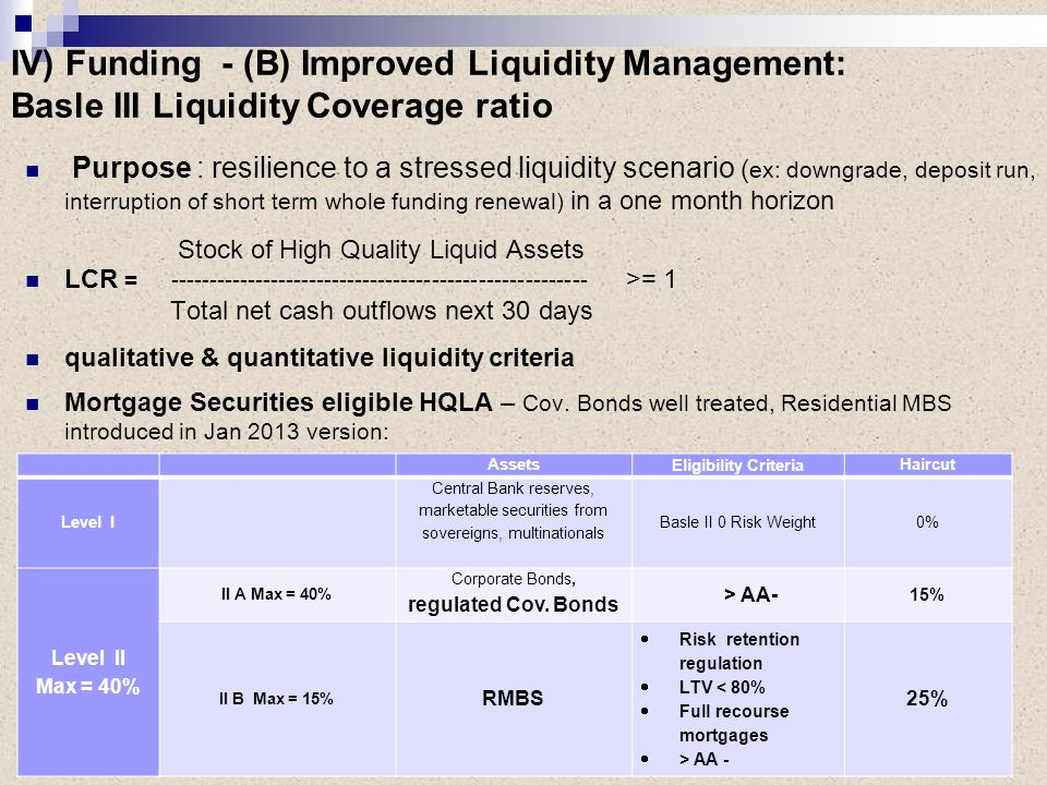Purpose : resilience to a stressed liquidity scenario ( ex: downgrade, deposit run, interruption of short term whole funding renewal) in a one month horizon Stock of High Quality Liquid Assets LCR = ------------------------------------------------------ >= 1 Total net cash outflows next 30 days qualitative & quantitative liquidity criteria Mortgage Securities eligible HQLA – Cov.