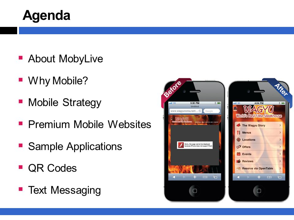 Agenda  About MobyLive  Why Mobile.