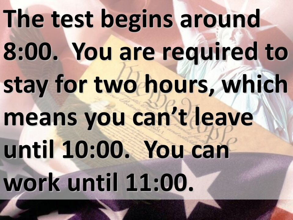 The test begins around 8:00.