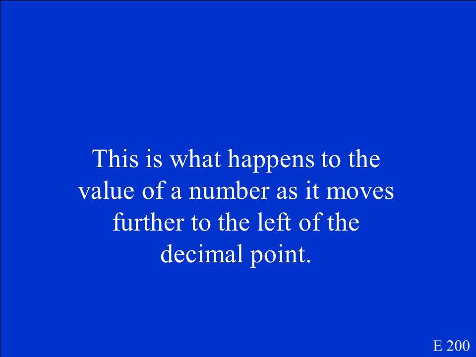 Decimal point E 100
