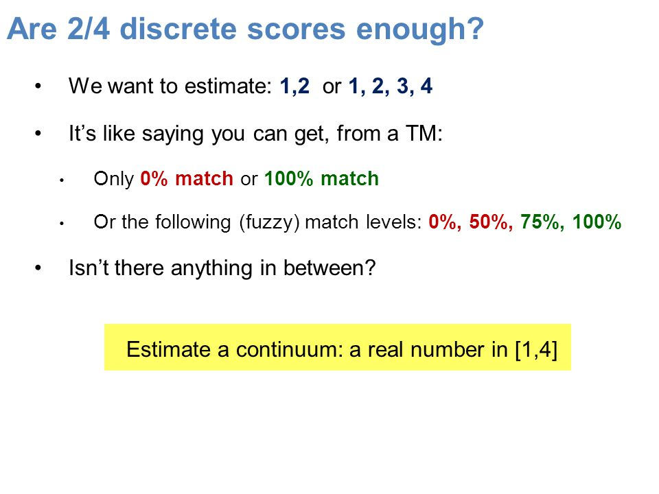 Are 2/4 discrete scores enough.