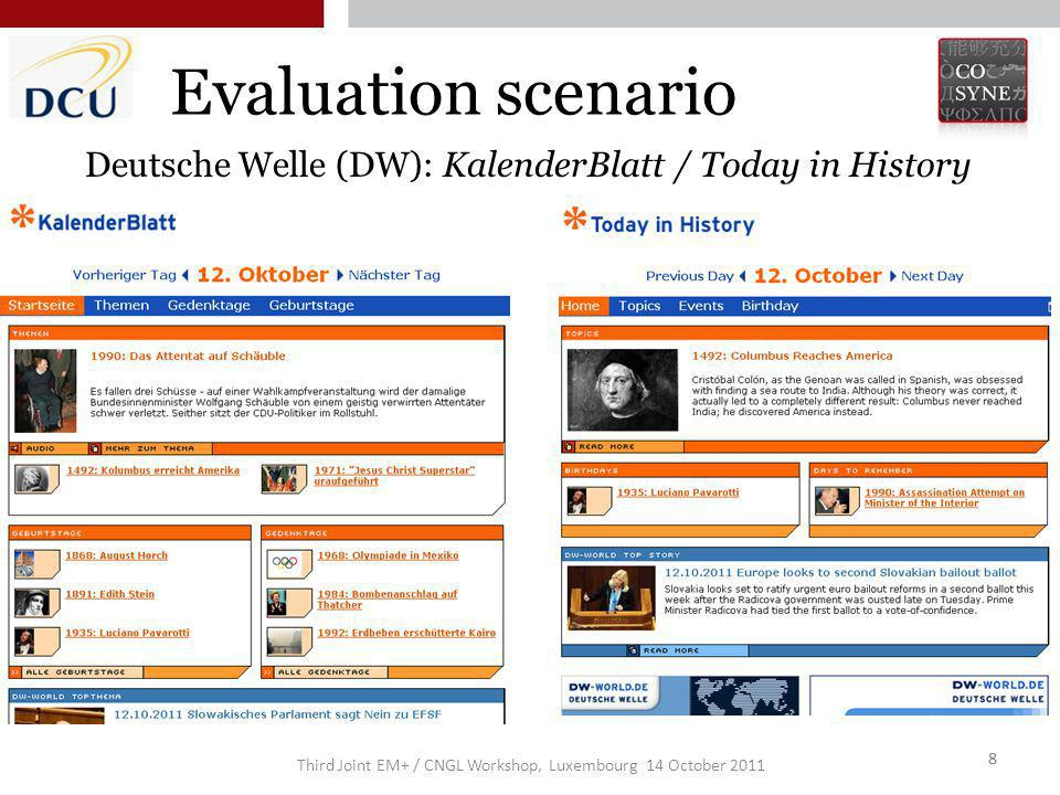 Third Joint EM+ / CNGL Workshop, Luxembourg 14 October 2011 8 Evaluation scenario 8 Deutsche Welle (DW): KalenderBlatt / Today in History