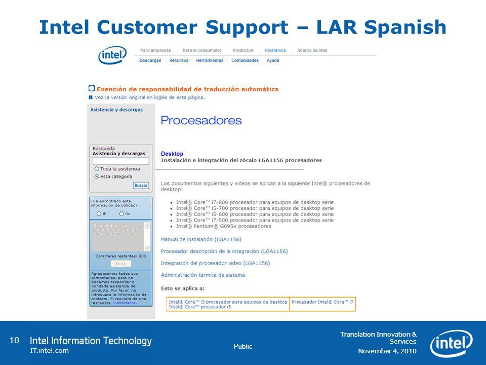 Public Intel Customer Support – LAR Spanish 10 Translation Innovation & Services November 4, 2010