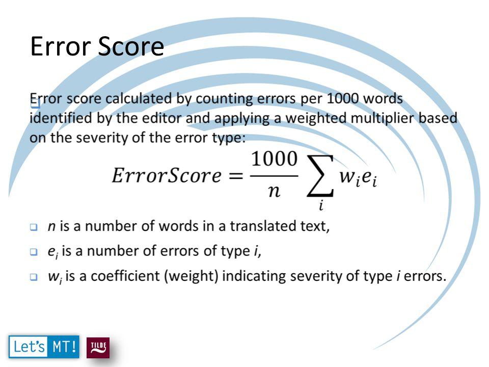 Error Score 