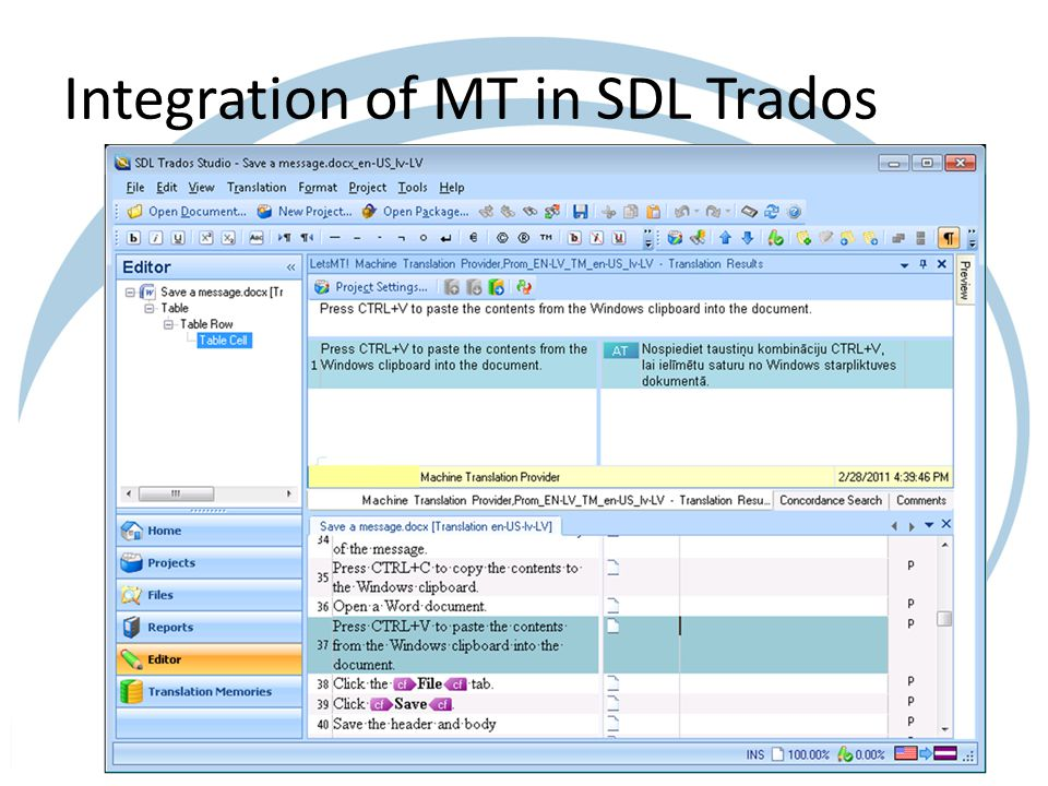 Integration of MT in SDL Trados
