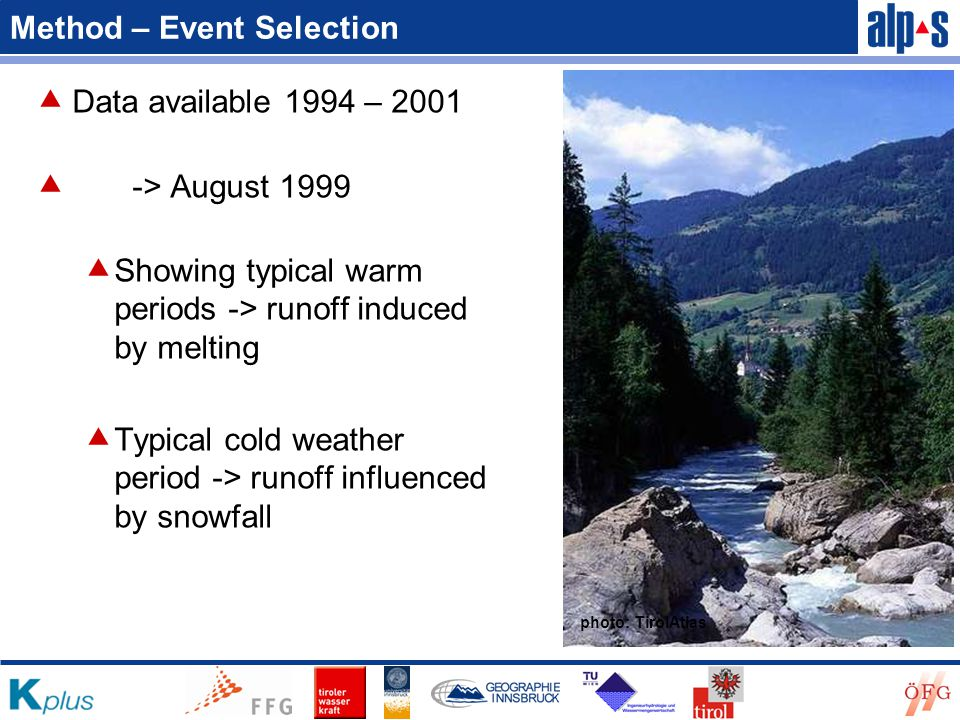 Method – Event Selection  Data available 1994 – 2001  -> August 1999  Showing typical warm periods -> runoff induced by melting  Typical cold weather period -> runoff influenced by snowfall photo: TirolAtlas