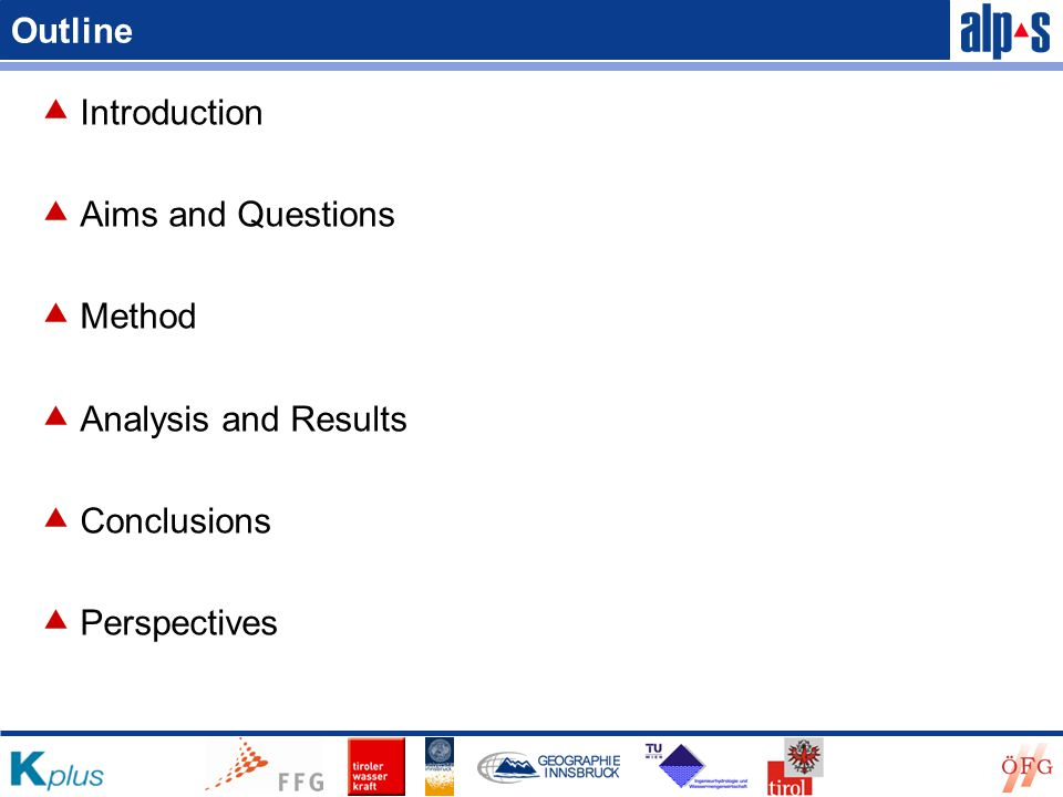 Outline  Introduction  Aims and Questions  Method  Analysis and Results  Conclusions  Perspectives