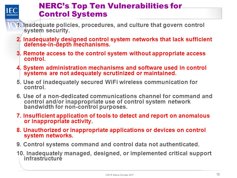 TC 57 WG15 Status October 2007 10 NERC's Top Ten Vulnerabilities for Control Systems 1.