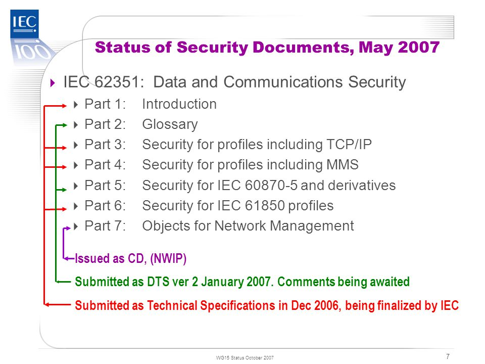 TC 57 WG15 Status October 2007 7  IEC 62351: Data and Communications Security  Part 1:Introduction  Part 2:Glossary  Part 3:Security for profiles including TCP/IP  Part 4:Security for profiles including MMS  Part 5:Security for IEC 60870-5 and derivatives  Part 6:Security for IEC 61850 profiles  Part 7:Objects for Network Management Status of Security Documents, May 2007 Submitted as Technical Specifications in Dec 2006, being finalized by IEC Submitted as DTS ver 2 January 2007.